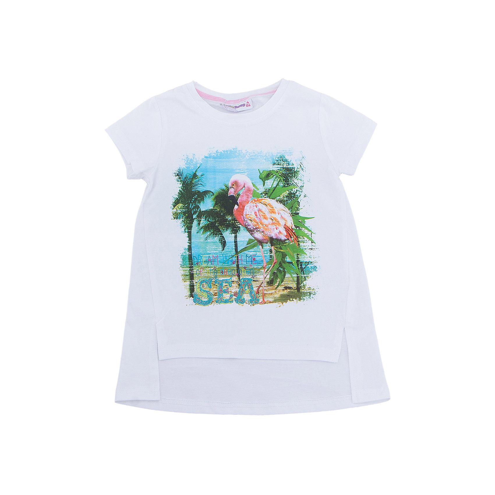 Футболка для девочки Sweet BerryФутболки, поло и топы<br>Удлиненная футболка из трикотажной, мягкой ткани для девочки с коротким рукавом и удлиненной спинкой. Декорирована оригинальным принтом.<br>Состав:<br>95%хлопок 5%эластан<br><br>Ширина мм: 199<br>Глубина мм: 10<br>Высота мм: 161<br>Вес г: 151<br>Цвет: белый<br>Возраст от месяцев: 36<br>Возраст до месяцев: 48<br>Пол: Женский<br>Возраст: Детский<br>Размер: 104,122,98,110,116,128<br>SKU: 5409859