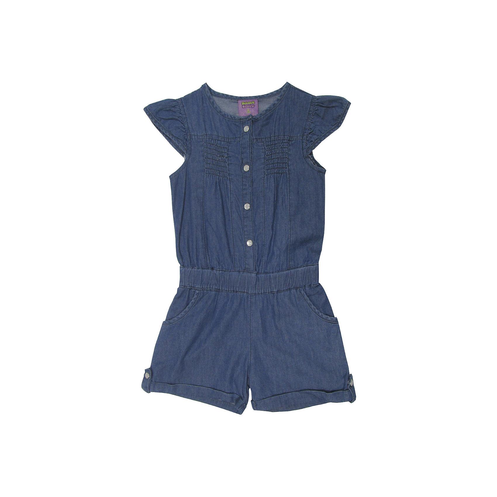 Комбинезон для девочки Sweet BerryКомбинезон из тонкой хлопковой ткани под джинсу для девочки. Рукава крылышки. Талия собрана на мягкую резинку Застежка на кнопках.<br>Состав:<br>100%хлопок<br><br>Ширина мм: 215<br>Глубина мм: 88<br>Высота мм: 191<br>Вес г: 336<br>Цвет: синий<br>Возраст от месяцев: 48<br>Возраст до месяцев: 60<br>Пол: Женский<br>Возраст: Детский<br>Размер: 110,122,128,104,116,98<br>SKU: 5409866
