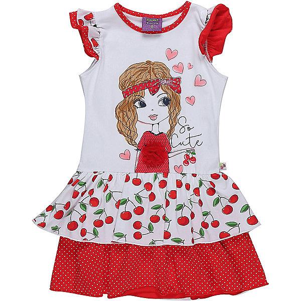 Платье для девочки Sweet BerryПлатья и сарафаны<br>Яркое трикотажное платье из принтованной ткани с аппликацией. Низ изделия декорирован контрастными воланами. Рукава крылышки.<br>Состав:<br>95%хлопок 5%эластан<br>Ширина мм: 236; Глубина мм: 16; Высота мм: 184; Вес г: 177; Цвет: белый; Возраст от месяцев: 24; Возраст до месяцев: 36; Пол: Женский; Возраст: Детский; Размер: 98,104,128,122,116,110; SKU: 5409907;