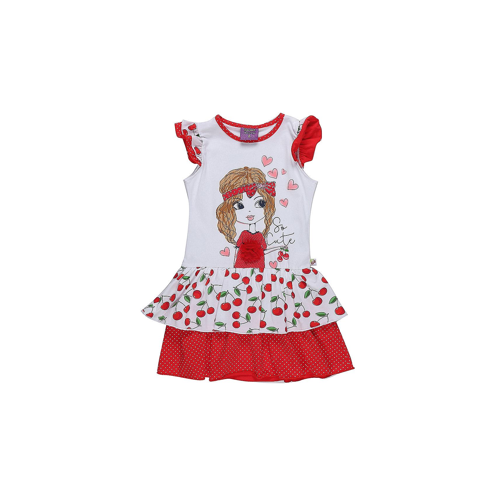 Платье для девочки Sweet BerryЛетние платья и сарафаны<br>Яркое трикотажное платье из принтованной ткани с аппликацией. Низ изделия декорирован контрастными воланами. Рукава крылышки.<br>Состав:<br>95%хлопок 5%эластан<br><br>Ширина мм: 236<br>Глубина мм: 16<br>Высота мм: 184<br>Вес г: 177<br>Цвет: белый<br>Возраст от месяцев: 36<br>Возраст до месяцев: 48<br>Пол: Женский<br>Возраст: Детский<br>Размер: 104,98,110,116,122,128<br>SKU: 5409907
