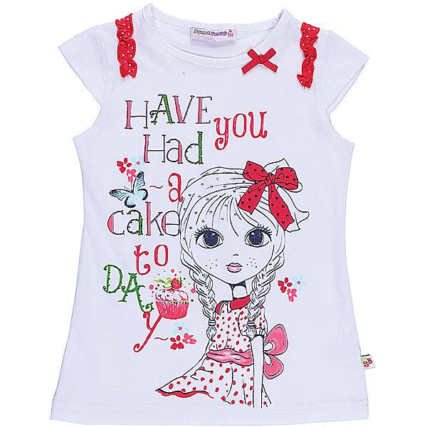 Футболка для девочки Sweet BerryФутболки, поло и топы<br>Стильная футболка из трикотажной, мягкой ткани для девочки с коротким рукавом. Декорирована оригинальным принтом бантиками.<br>Состав:<br>95%хлопок 5%эластан<br><br>Ширина мм: 199<br>Глубина мм: 10<br>Высота мм: 161<br>Вес г: 151<br>Цвет: белый<br>Возраст от месяцев: 24<br>Возраст до месяцев: 36<br>Пол: Женский<br>Возраст: Детский<br>Размер: 98,104,128,122,116,110<br>SKU: 5409914