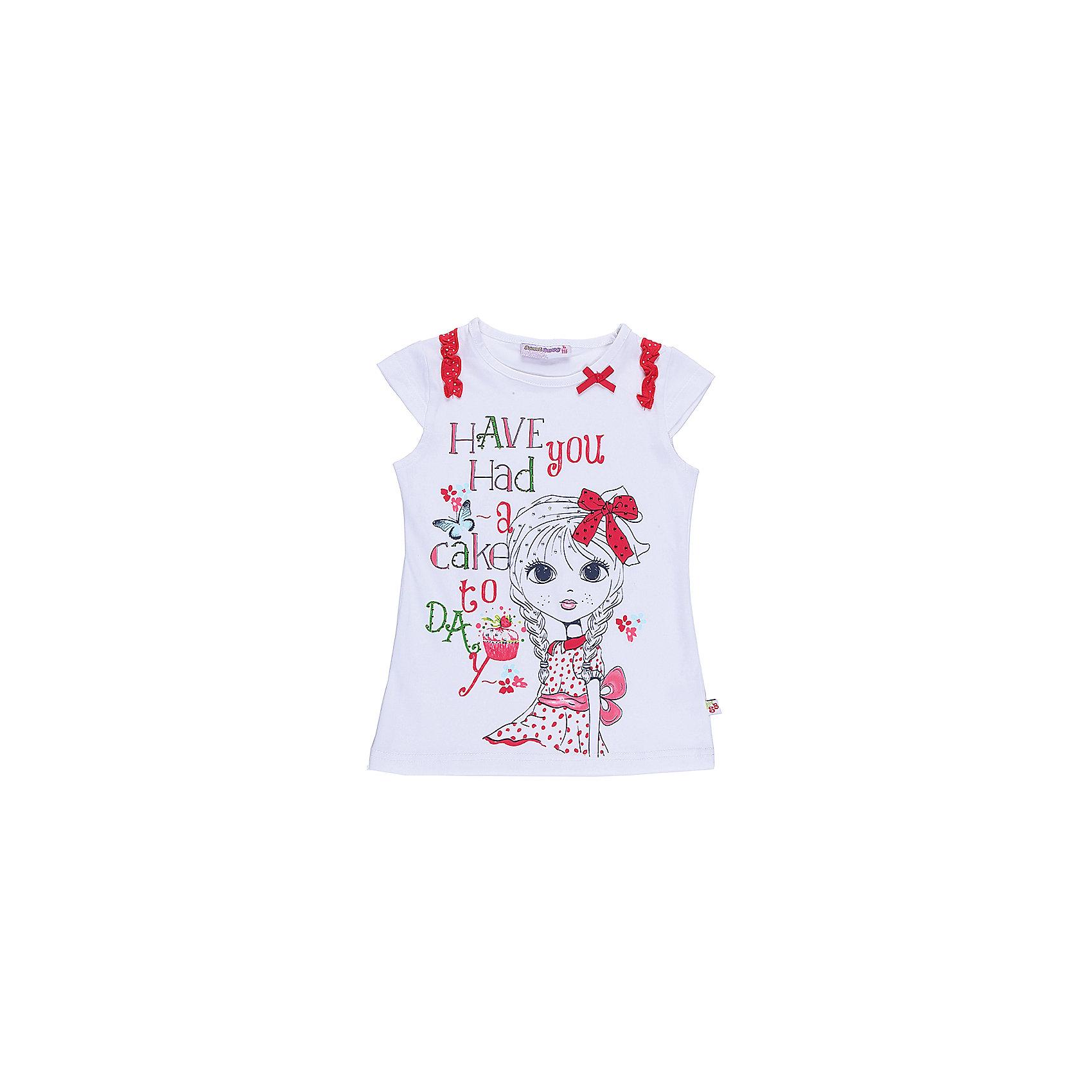 Футболка для девочки Sweet BerryФутболки, поло и топы<br>Стильная футболка из трикотажной, мягкой ткани для девочки с коротким рукавом. Декорирована оригинальным принтом бантиками.<br>Состав:<br>95%хлопок 5%эластан<br><br>Ширина мм: 199<br>Глубина мм: 10<br>Высота мм: 161<br>Вес г: 151<br>Цвет: белый<br>Возраст от месяцев: 24<br>Возраст до месяцев: 36<br>Пол: Женский<br>Возраст: Детский<br>Размер: 98,104,110,116,122,128<br>SKU: 5409914