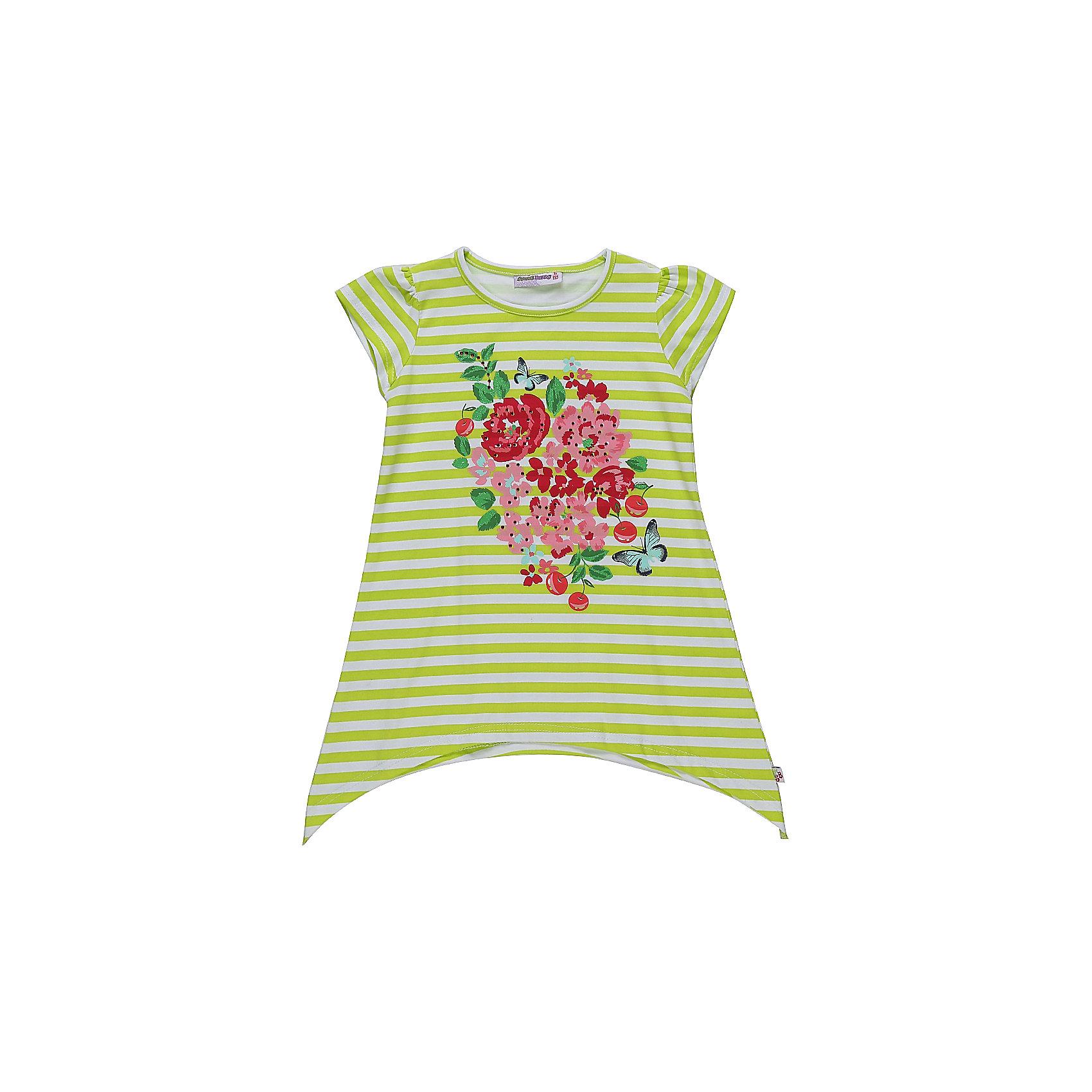 Футболка для девочки Sweet BerryСтильная, Удлиненная футболка из трикотажной  ткани для девочки с коротким рукавом и ассиметричным низом. Декорирована оригинальным принтом.<br>Состав:<br>95%хлопок 5%эластан<br><br>Ширина мм: 199<br>Глубина мм: 10<br>Высота мм: 161<br>Вес г: 151<br>Цвет: разноцветный<br>Возраст от месяцев: 36<br>Возраст до месяцев: 48<br>Пол: Женский<br>Возраст: Детский<br>Размер: 104,98,110,116,122,128<br>SKU: 5409931