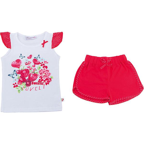 Комплект: футболка и шорты для девочки Sweet BerryКомплекты<br>Трикотажный комплект для девочки состоящий из футболки и шорт. Футболка декорирована ярким принтом и рукавами воланами. Короткие, мягкие шорты с контрастной отстрочкой. Эластичный пояс на резинке.<br>Состав:<br>95%хлопок 5%эластан<br>Ширина мм: 191; Глубина мм: 10; Высота мм: 175; Вес г: 273; Цвет: белый; Возраст от месяцев: 24; Возраст до месяцев: 36; Пол: Женский; Возраст: Детский; Размер: 98,104,128,122,116,110; SKU: 5409938;
