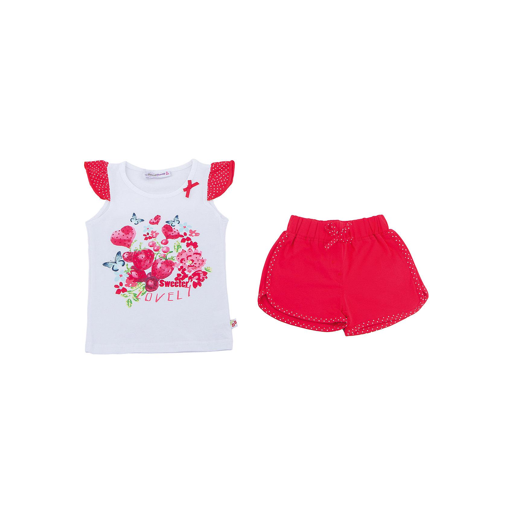 Комплект: футболка и шорты для девочки Sweet BerryКомплекты<br>Трикотажный комплект для девочки состоящий из футболки и шорт. Футболка декорирована ярким принтом и рукавами воланами. Короткие, мягкие шорты с контрастной отстрочкой. Эластичный пояс на резинке.<br>Состав:<br>95%хлопок 5%эластан<br><br>Ширина мм: 191<br>Глубина мм: 10<br>Высота мм: 175<br>Вес г: 273<br>Цвет: разноцветный<br>Возраст от месяцев: 36<br>Возраст до месяцев: 48<br>Пол: Женский<br>Возраст: Детский<br>Размер: 104,98,110,116,122,128<br>SKU: 5409938