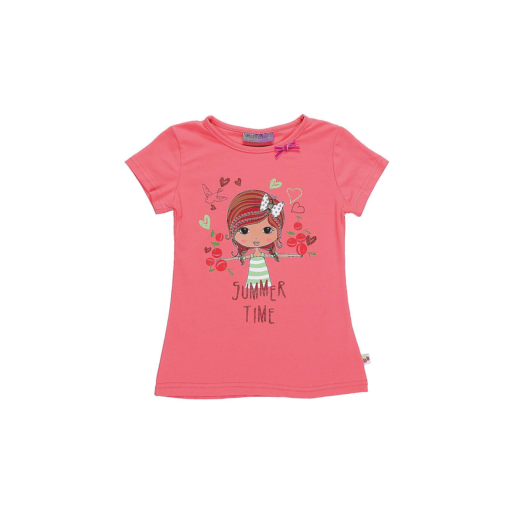 Футболка для девочки Sweet BerryЯркая футболка из трикотажной, мягкой ткани для девочки с коротким рукавом. Декорирована оригинальным принтом.<br>Состав:<br>95%хлопок 5%эластан<br><br>Ширина мм: 199<br>Глубина мм: 10<br>Высота мм: 161<br>Вес г: 151<br>Цвет: розовый<br>Возраст от месяцев: 36<br>Возраст до месяцев: 48<br>Пол: Женский<br>Возраст: Детский<br>Размер: 104,98,110,116,122,128<br>SKU: 5409964