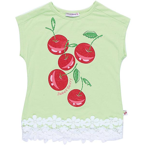 Футболка для девочки Sweet BerryФутболки, поло и топы<br>Стильная футболка из трикотажной, мягкой ткани для девочки с коротким рукавом. Декорирована оригинальным принтом и кружевом по низу изделия.<br>Состав:<br>95%хлопок 5%эластан<br>Ширина мм: 199; Глубина мм: 10; Высота мм: 161; Вес г: 151; Цвет: зеленый; Возраст от месяцев: 84; Возраст до месяцев: 96; Пол: Женский; Возраст: Детский; Размер: 128,104,98,110,116,122; SKU: 5409989;