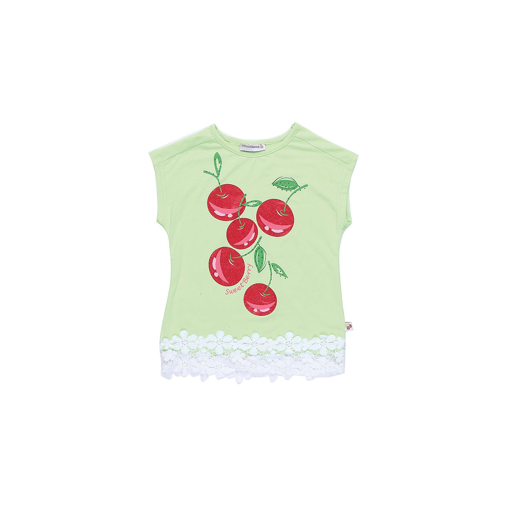 Футболка для девочки Sweet BerryФутболки, поло и топы<br>Стильная футболка из трикотажной, мягкой ткани для девочки с коротким рукавом. Декорирована оригинальным принтом и кружевом по низу изделия.<br>Состав:<br>95%хлопок 5%эластан<br><br>Ширина мм: 199<br>Глубина мм: 10<br>Высота мм: 161<br>Вес г: 151<br>Цвет: зеленый<br>Возраст от месяцев: 36<br>Возраст до месяцев: 48<br>Пол: Женский<br>Возраст: Детский<br>Размер: 104,98,110,116,122,128<br>SKU: 5409989