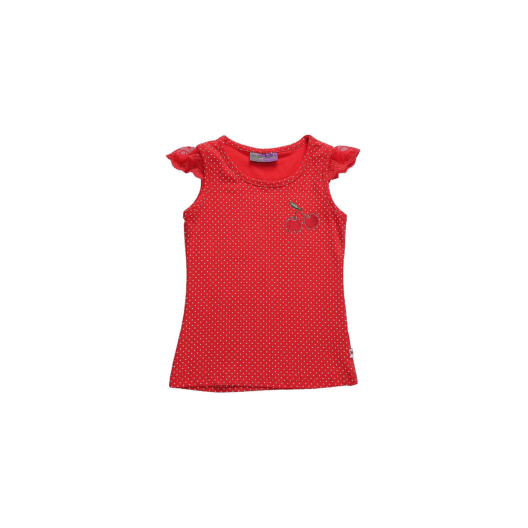 Майка для девочки Sweet BerryФутболки, поло и топы<br>Трикотажная майка-топиз принтованной ткани для девочки.Рукава-крылышки сделаны из мягкого кружева, низ изделия декорирован яркой вышивкой.<br>Состав:<br>95%хлопок 5%эластан<br><br>Ширина мм: 199<br>Глубина мм: 10<br>Высота мм: 161<br>Вес г: 151<br>Цвет: красный<br>Возраст от месяцев: 24<br>Возраст до месяцев: 36<br>Пол: Женский<br>Возраст: Детский<br>Размер: 98,104,128,122,116,110<br>SKU: 5410024