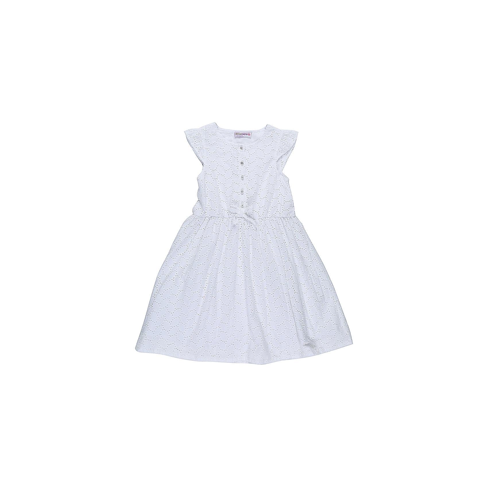 Платье для девочки Sweet BerryХлопковое платье для девочки из вышитого полотна. Декорированно пуговками и маленьким бантиком. Хлопковый подклад. Приталенный крой.<br>Состав:<br>Верх: 100% хлопок, Подкладка: 100%хлопок<br><br>Ширина мм: 236<br>Глубина мм: 16<br>Высота мм: 184<br>Вес г: 177<br>Цвет: белый<br>Возраст от месяцев: 36<br>Возраст до месяцев: 48<br>Пол: Женский<br>Возраст: Детский<br>Размер: 104,98,110,116,122,128<br>SKU: 5410066