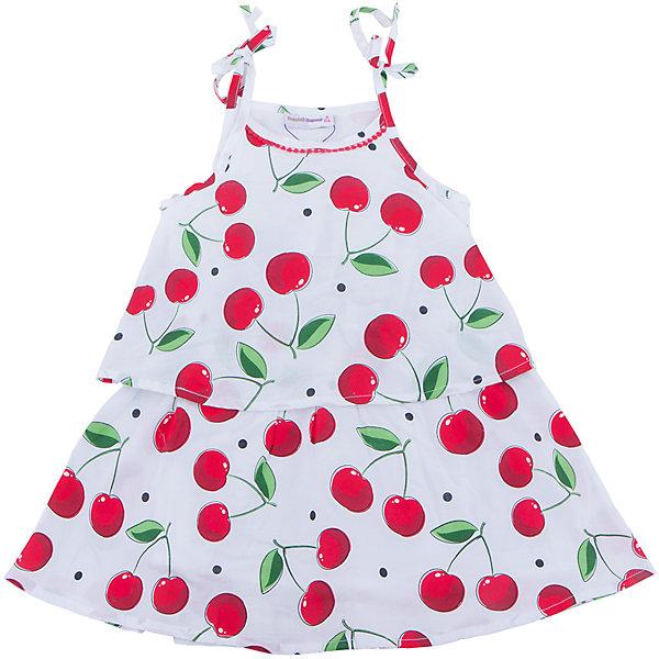 Платье для девочки Sweet BerryЛетние платья и сарафаны<br>Хлопковое платье для девочки из принтованной ткани на регулируемых бретелях. Свободный крой.<br>Состав:<br>Верх: 100% хлопок  Подкладка: 100% хлопок<br>Ширина мм: 236; Глубина мм: 16; Высота мм: 184; Вес г: 177; Цвет: белый; Возраст от месяцев: 24; Возраст до месяцев: 36; Пол: Женский; Возраст: Детский; Размер: 98,104,128,122,116,110; SKU: 5410108;