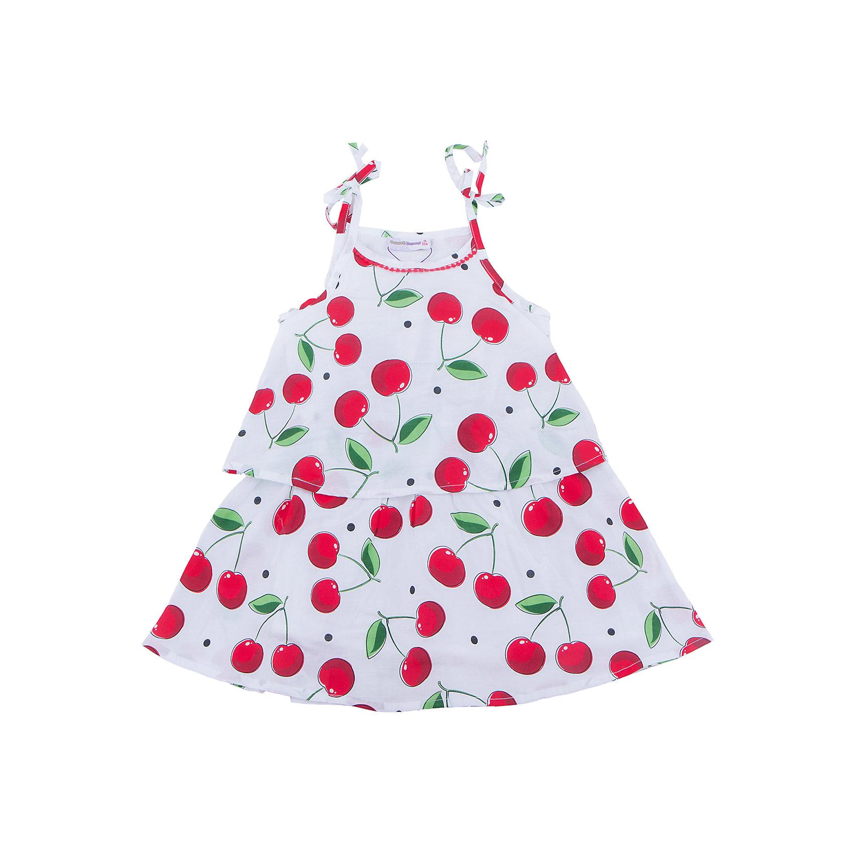 Платье для девочки Sweet BerryПлатья и сарафаны<br>Хлопковое платье для девочки из принтованной ткани на регулируемых бретелях. Свободный крой.<br>Состав:<br>Верх: 100% хлопок  Подкладка: 100% хлопок<br><br>Ширина мм: 236<br>Глубина мм: 16<br>Высота мм: 184<br>Вес г: 177<br>Цвет: белый<br>Возраст от месяцев: 36<br>Возраст до месяцев: 48<br>Пол: Женский<br>Возраст: Детский<br>Размер: 104,98,110,116,122,128<br>SKU: 5410108