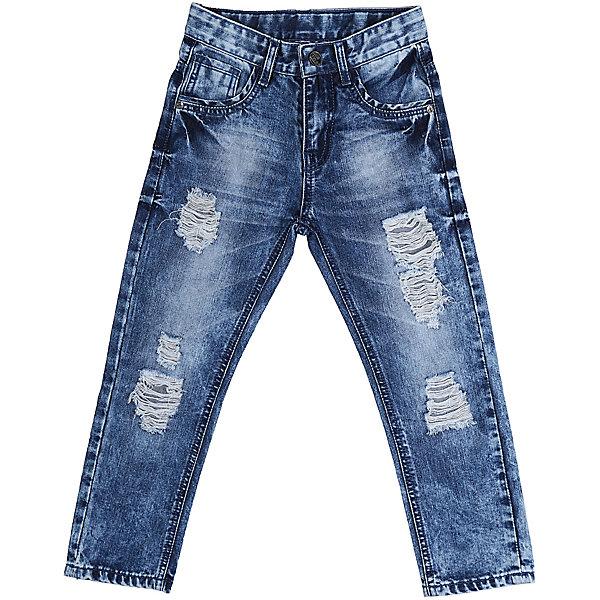 Джинсы для мальчика Sweet BerryДжинсовая одежда<br>Джинсы  для мальчика с оригинальной варкой. Декорированы эффектом рваной джинсы. Зауженный крой, средняя посадка. Застегиваются на молнию и пуговицу. Шлевки на поясе рассчитаны под ремень. В боковой части пояса находятся вшитые эластичные ленты, регулирующие посадку по талии.<br>Состав:<br>100%хлопок<br><br>Ширина мм: 215<br>Глубина мм: 88<br>Высота мм: 191<br>Вес г: 336<br>Цвет: синий<br>Возраст от месяцев: 24<br>Возраст до месяцев: 36<br>Пол: Мужской<br>Возраст: Детский<br>Размер: 98,104,128,116,122,110<br>SKU: 5410194