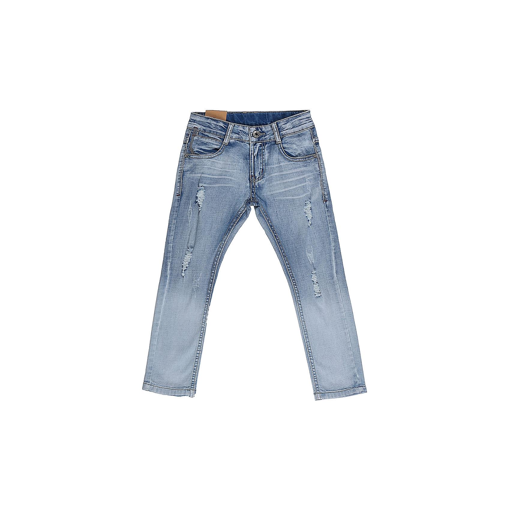 Джинсы для мальчика Sweet BerryДжинсы  для мальчика с оригинальной варкой. Декорированы эффектом рваной джинсы. Зауженный крой, средняя посадка. Застегиваются на молнию и пуговицу. Шлевки на поясе рассчитаны под ремень. В боковой части пояса находятся вшитые эластичные ленты, регулирующие посадку по талии.<br>Состав:<br>98%хлопок 2%эластан<br><br>Ширина мм: 215<br>Глубина мм: 88<br>Высота мм: 191<br>Вес г: 336<br>Цвет: синий<br>Возраст от месяцев: 36<br>Возраст до месяцев: 48<br>Пол: Мужской<br>Возраст: Детский<br>Размер: 104,98,110,116,122,128<br>SKU: 5410229