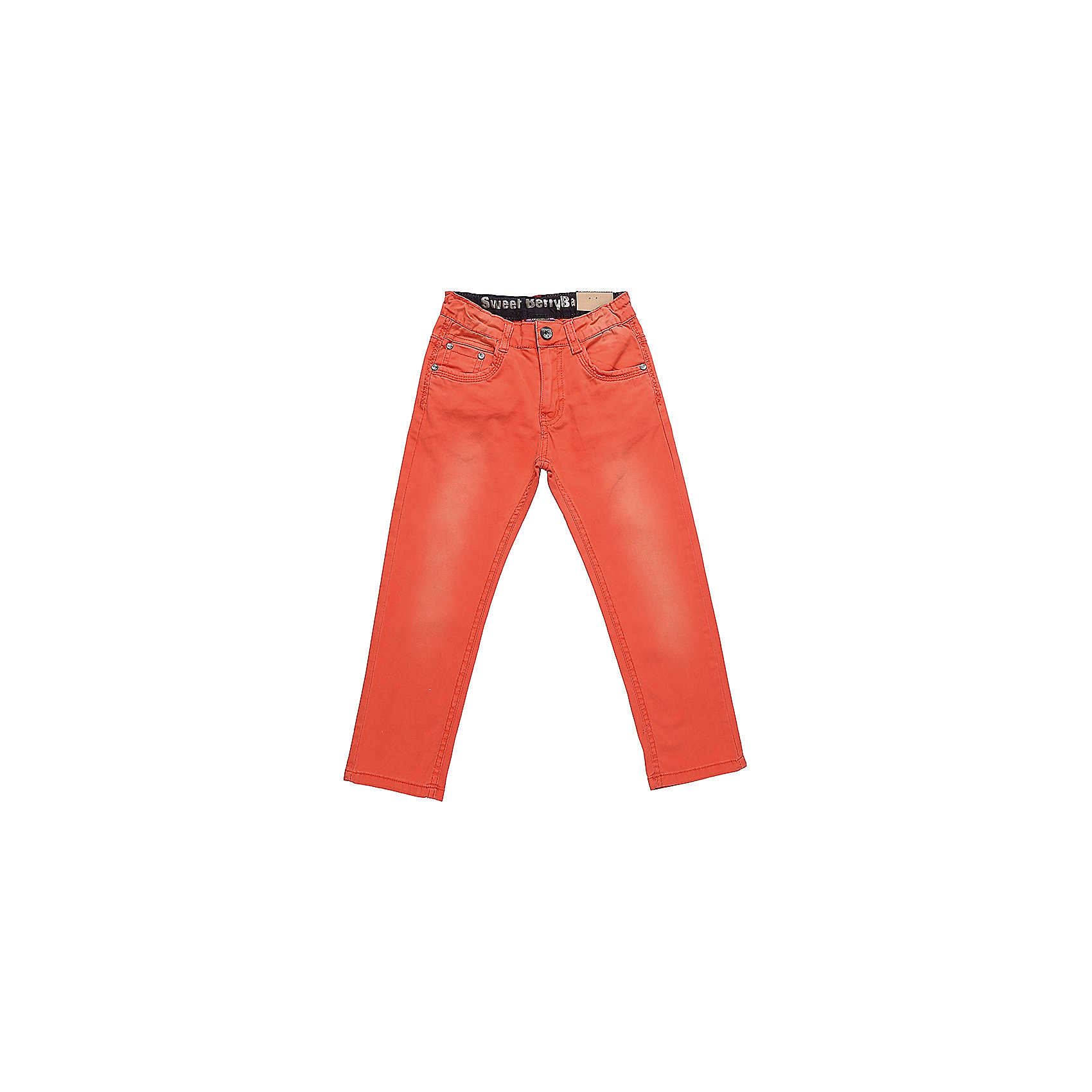 Джинсы для мальчика Sweet BerryДжинсовая одежда<br>Яркие джинсы  для мальчика. Зауженный крой, средняя посадка. Застегиваются на молнию и пуговицу. Шлевки на поясе рассчитаны под ремень. В боковой части пояса находятся вшитые эластичные ленты, регулирующие посадку по талии.<br>Состав:<br>98%хлопок 2%эластан<br><br>Ширина мм: 215<br>Глубина мм: 88<br>Высота мм: 191<br>Вес г: 336<br>Цвет: оранжевый<br>Возраст от месяцев: 36<br>Возраст до месяцев: 48<br>Пол: Мужской<br>Возраст: Детский<br>Размер: 104,128,98,110,116,122<br>SKU: 5410449