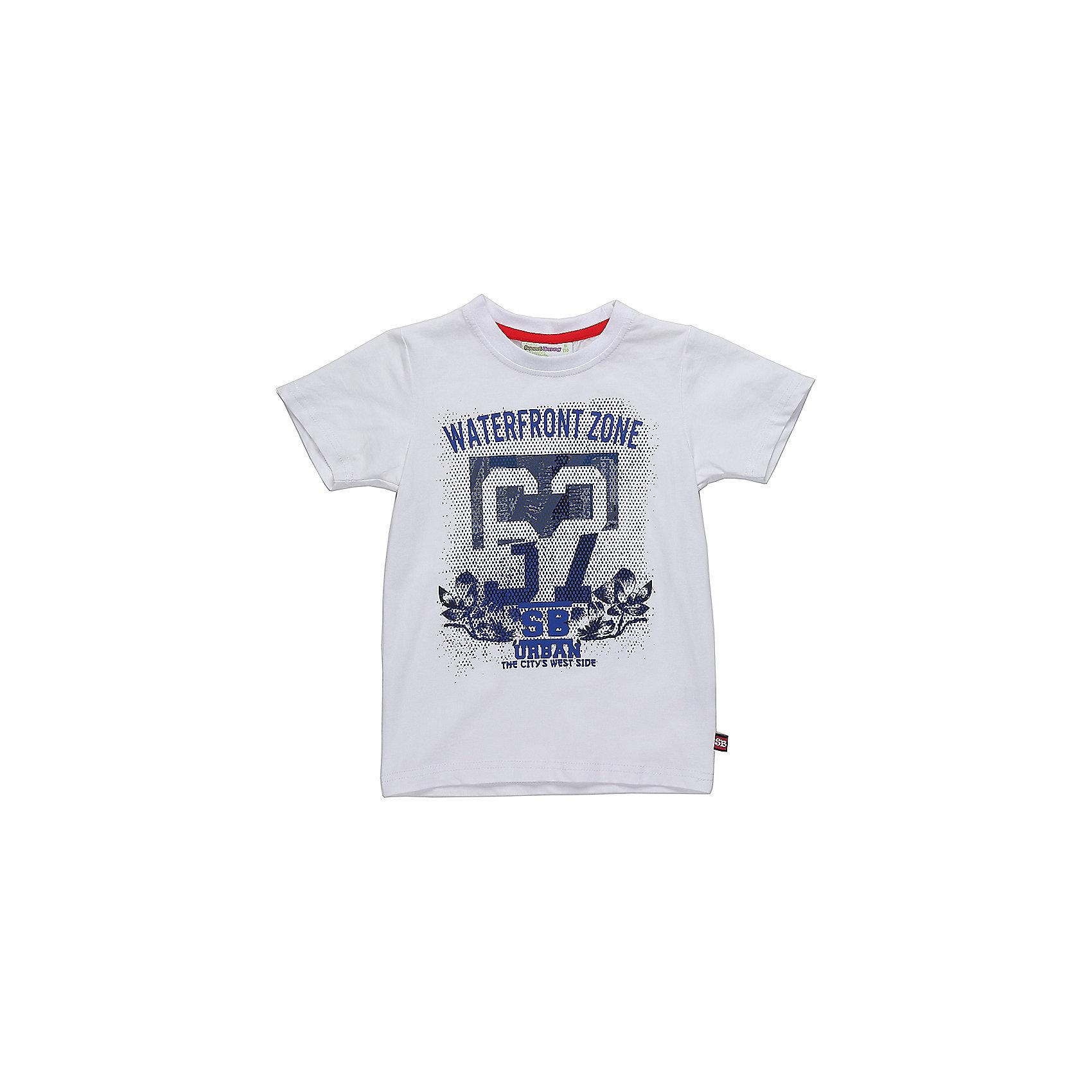 Футболка для мальчика Sweet BerryФутболки, поло и топы<br>Белая трикотажная футболка для мальчиков. Хлопковая ткань с эластаном не линяет, хорошо отстирывается и держит форму. Впереди - принт с синими буквами на серо-белом фоне. Такая футболка может быть полезна ребенку летом как отражающая солнечные лучи одежда. А сочетание цветов подчеркивает ее стильность и нарядность.<br>Состав:<br>95%хлопок 5%эластан<br><br>Ширина мм: 199<br>Глубина мм: 10<br>Высота мм: 161<br>Вес г: 151<br>Цвет: белый<br>Возраст от месяцев: 36<br>Возраст до месяцев: 48<br>Пол: Мужской<br>Возраст: Детский<br>Размер: 98,110,116,104,122,128<br>SKU: 5410498