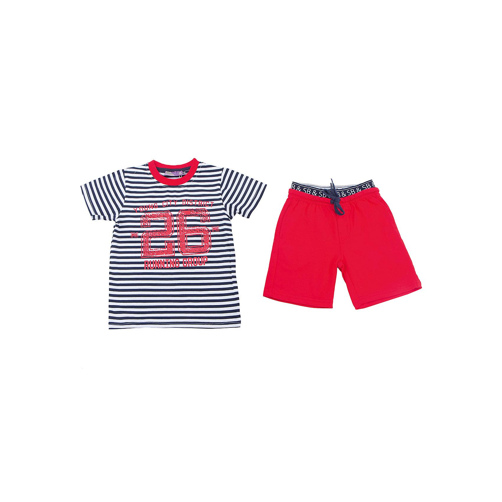 Комплект: футболка и шорты для мальчика Sweet BerryКомплекты<br>Яркий трикотажный комплект для мальчика состоящий из футболки и шорт. Футболка декориорована модной полоской в морском стиле и принтом. Мягкие шорты с удобными карманами. Пояс-резинка дополнен шнуром для регулирования объема.<br>Состав:<br>95%хлопок 5%эластан<br><br>Ширина мм: 191<br>Глубина мм: 10<br>Высота мм: 175<br>Вес г: 273<br>Цвет: красный<br>Возраст от месяцев: 36<br>Возраст до месяцев: 48<br>Пол: Мужской<br>Возраст: Детский<br>Размер: 98,110,116,122,128,104<br>SKU: 5410567
