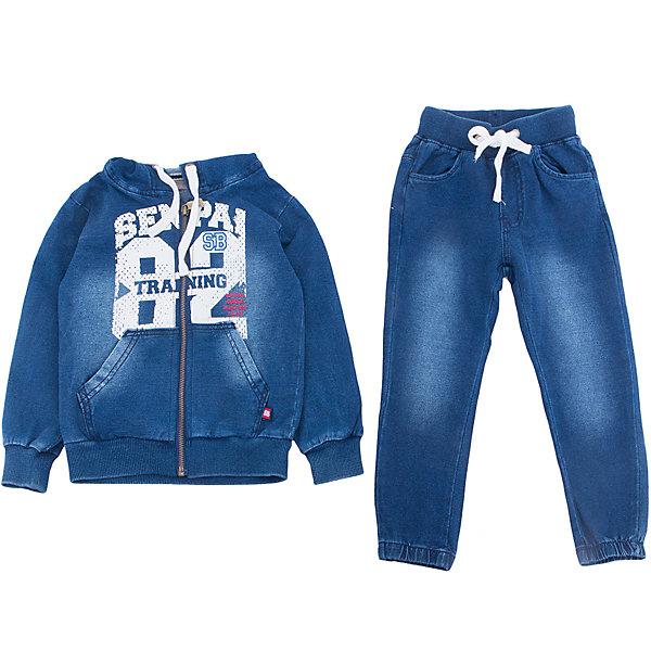 Спортивный костюм для мальчика Sweet BerryКомплекты<br>Спортивный трикотажный костюм для мальчика.  Куртка застегивается на молнию и декорирована принтом. Брюки спортивного стиля с зауженным низом собранные на мягкую резинку. Пояс-резинка дополнен шнуром для регулирования объема.<br>Состав:<br>95%хлопок 5%эластан<br>Ширина мм: 247; Глубина мм: 16; Высота мм: 140; Вес г: 225; Цвет: синий; Возраст от месяцев: 24; Возраст до месяцев: 36; Пол: Мужской; Возраст: Детский; Размер: 98,104,128,122,116,110; SKU: 5410595;