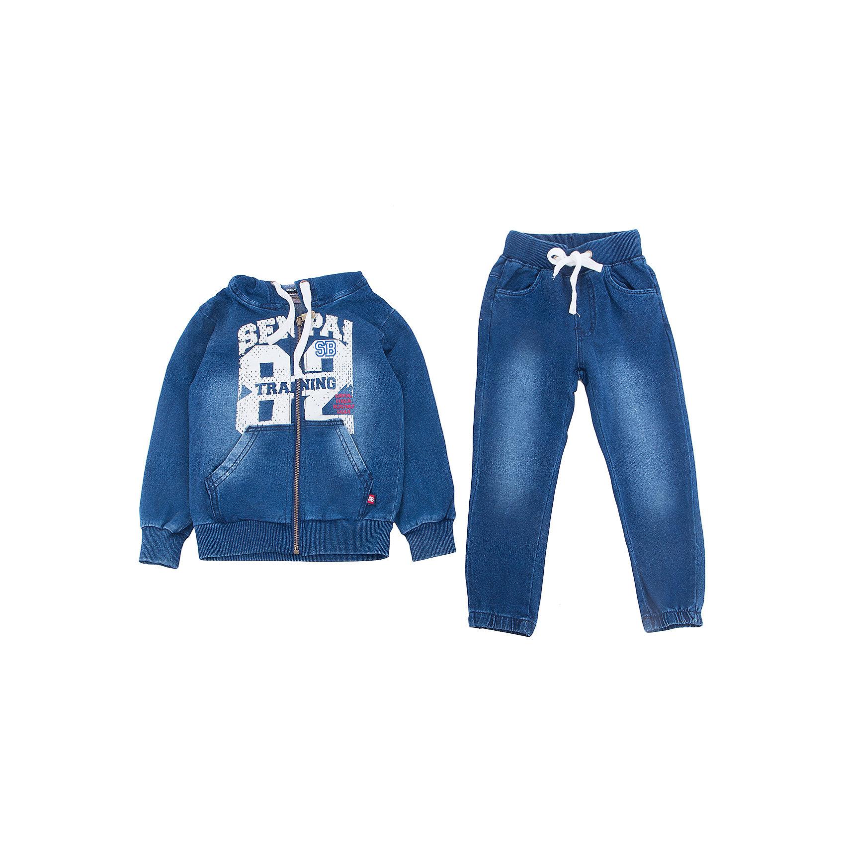 Спортивный костюм для мальчика Sweet BerryКомплекты<br>Спортивный трикотажный костюм для мальчика.  Куртка застегивается на молнию и декорирована принтом. Брюки спортивного стиля с зауженным низом собранные на мягкую резинку. Пояс-резинка дополнен шнуром для регулирования объема.<br>Состав:<br>95%хлопок 5%эластан<br><br>Ширина мм: 247<br>Глубина мм: 16<br>Высота мм: 140<br>Вес г: 225<br>Цвет: синий<br>Возраст от месяцев: 36<br>Возраст до месяцев: 48<br>Пол: Мужской<br>Возраст: Детский<br>Размер: 104,98,110,116,122,128<br>SKU: 5410595