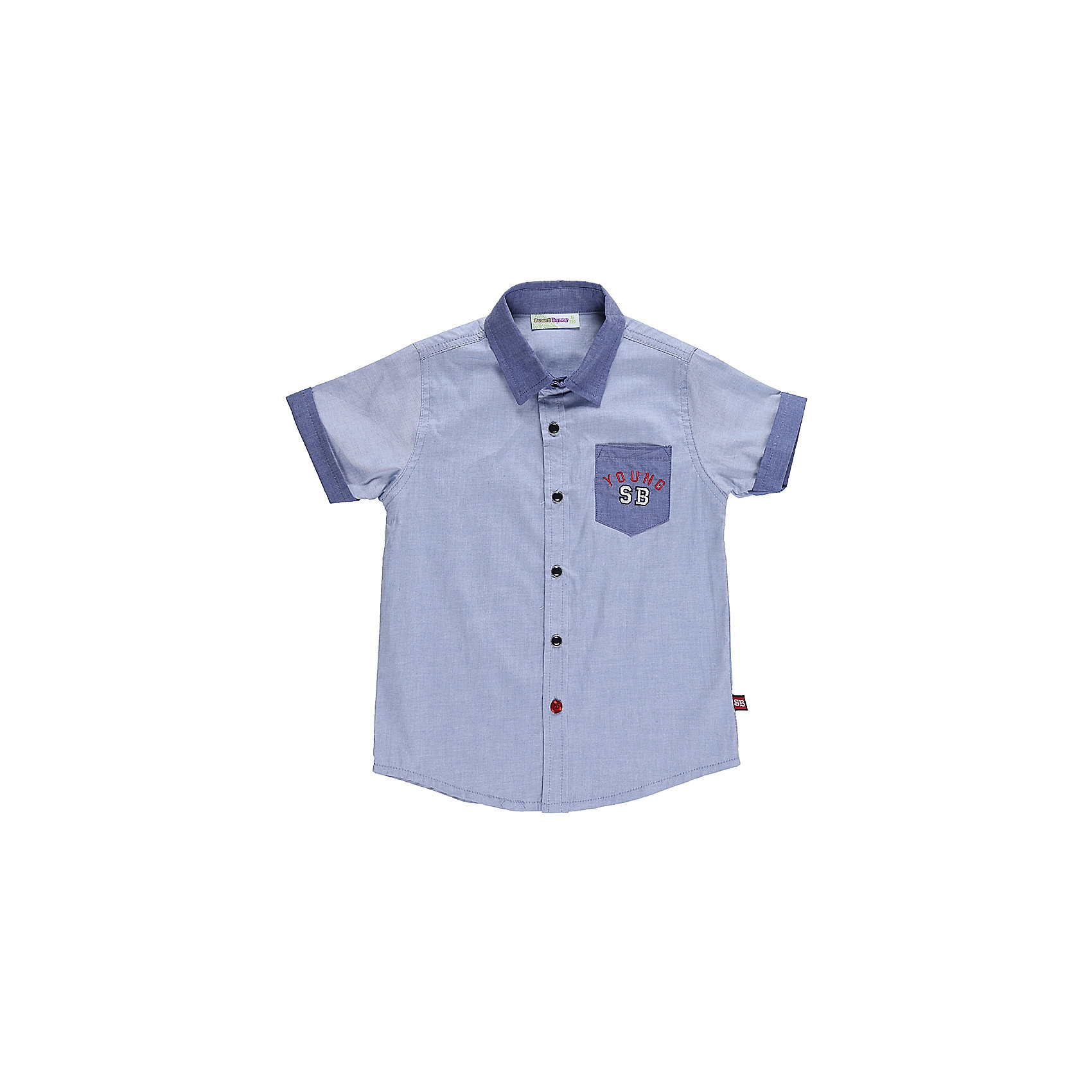 Рубашка для мальчика Sweet BerryБлузки и рубашки<br>Текстильная рубашка из хлопка для мальчика. Короткий рукав, накладной карман на левой полочке. Застегивается на кнопки. Отложной воротничок.<br>Состав:<br>100%хлопок<br><br>Ширина мм: 174<br>Глубина мм: 10<br>Высота мм: 169<br>Вес г: 157<br>Цвет: голубой<br>Возраст от месяцев: 24<br>Возраст до месяцев: 36<br>Пол: Мужской<br>Возраст: Детский<br>Размер: 98,104,128,122,116,110<br>SKU: 5410623