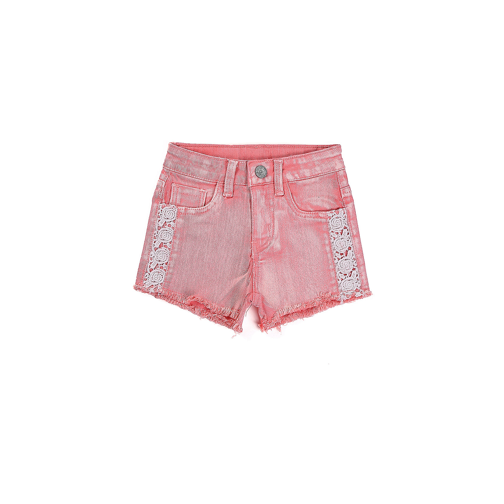 Шорты джинсовые для девочки Sweet BerryШорты и бриджи<br>Шорты для девочки розового цвета с оригинальной варкой. Декорированые бахромой по низу изделия, по бокам шорт вставки из кружевного плетения. Шлевки на поясе рассчитаны под ремень. В боковой части пояса находятся вшитые эластичные ленты, регулирующие посадку по талии.<br>Состав:<br>98%хлопок 2%эластан<br><br>Ширина мм: 191<br>Глубина мм: 10<br>Высота мм: 175<br>Вес г: 273<br>Цвет: розовый<br>Возраст от месяцев: 12<br>Возраст до месяцев: 15<br>Пол: Женский<br>Возраст: Детский<br>Размер: 80,86,92,98<br>SKU: 5410830