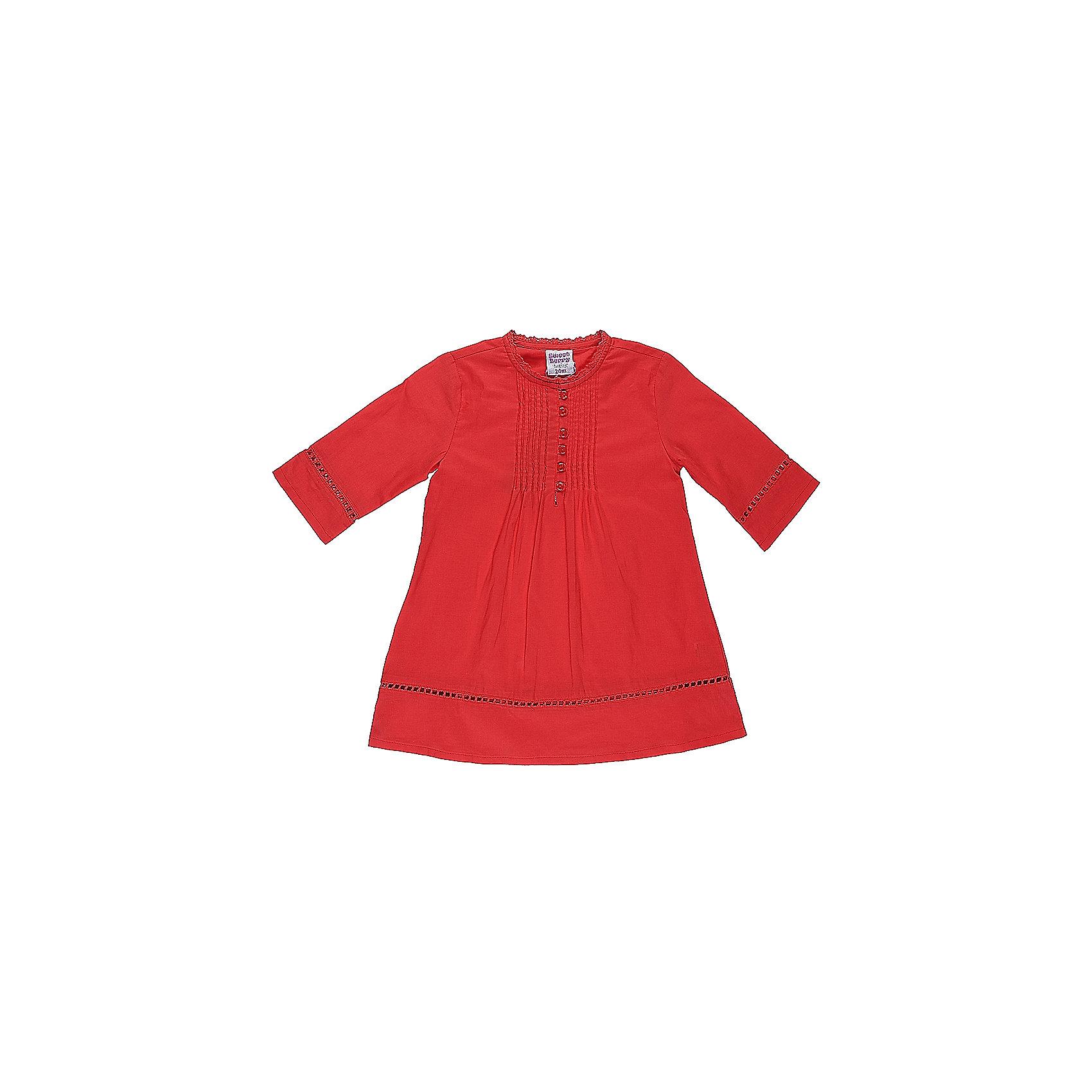 Платье для девочки Sweet BerryПлатья<br>Характеристики товара:<br><br>• цвет: красный<br>• состав: 100% хлопок<br>• рукава до локтя<br>• пуговицы<br>• округлый горловой вырез<br>• страна бренда: Российская Федерация<br><br>Платье для девочки от популярного бренда Sweet Berry (Свит Берри) можно купить в нашем интернет-магазине.<br><br>Ширина мм: 236<br>Глубина мм: 16<br>Высота мм: 184<br>Вес г: 177<br>Цвет: розовый<br>Возраст от месяцев: 12<br>Возраст до месяцев: 15<br>Пол: Женский<br>Возраст: Детский<br>Размер: 92,98,86,80<br>SKU: 5410851