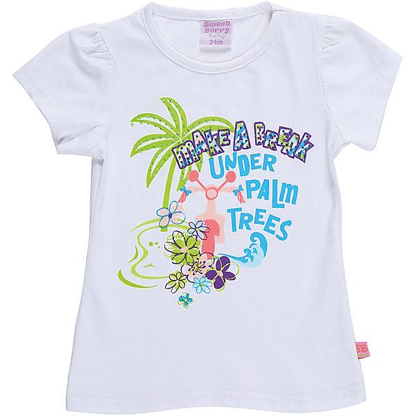 Футболка для девочки Sweet BerryФутболки, поло и топы<br>Белая трикотажная футболка для девочки декорированная оригинальным принтом. Приталенный крой.<br>Состав:<br>95%хлопок 5%эластан<br><br>Ширина мм: 199<br>Глубина мм: 10<br>Высота мм: 161<br>Вес г: 151<br>Цвет: белый<br>Возраст от месяцев: 12<br>Возраст до месяцев: 15<br>Пол: Женский<br>Возраст: Детский<br>Размер: 80,92,86,98<br>SKU: 5410868