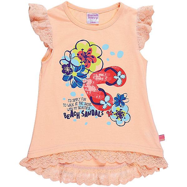 Футболка для девочки Sweet BerryФутболки, топы<br>Трикотажная футболка для девочки с ассиметричным низом. Рукава Декорированые кружевом. На полочке красивая цветочная аппликация.<br>Состав:<br>95%хлопок 5%эластан<br>Ширина мм: 199; Глубина мм: 10; Высота мм: 161; Вес г: 151; Цвет: оранжевый; Возраст от месяцев: 12; Возраст до месяцев: 15; Пол: Женский; Возраст: Детский; Размер: 80,86,92,98; SKU: 5410873;