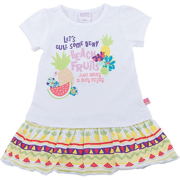 Платье для девочки Sweet BerryПлатья<br>Трикотажное плате для девочки прямого кроя. Декорировано красивым принтом и большим воланом.<br>Состав:<br>95%хлопок 5%эластан<br><br>Ширина мм: 236<br>Глубина мм: 16<br>Высота мм: 184<br>Вес г: 177<br>Цвет: белый<br>Возраст от месяцев: 12<br>Возраст до месяцев: 15<br>Пол: Женский<br>Возраст: Детский<br>Размер: 86,98,92,80<br>SKU: 5410894