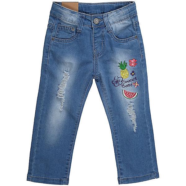 Джинсы для девочки Sweet BerryДжинсы<br>Джинсы для девочки из хлопка, декорированы красивой вышивкой, потертостями и эффектом рваной джинсы. Зауженный крой, средняя посадка. Застегиваются на молнию и крючок. Шлевки на поясе рассчитаны под ремень. В боковой части пояса находятся вшитые эластичные ленты, регулирующие посадку по талии.<br>Состав:<br>98%хлопок 2%эластан<br><br>Ширина мм: 215<br>Глубина мм: 88<br>Высота мм: 191<br>Вес г: 336<br>Цвет: голубой<br>Возраст от месяцев: 12<br>Возраст до месяцев: 18<br>Пол: Женский<br>Возраст: Детский<br>Размер: 86,80,98,92<br>SKU: 5410919