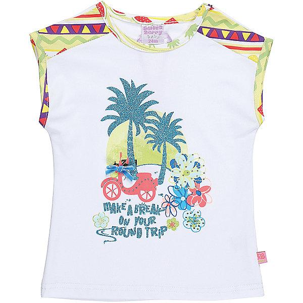 Футболка для девочки Sweet BerryФутболки, топы<br>Трикотажная футболка для девочки декорированная оригинальным принтом. Плечи и горловина выделены контрастной тканью.<br>Состав:<br>95%хлопок 5%эластан<br><br>Ширина мм: 199<br>Глубина мм: 10<br>Высота мм: 161<br>Вес г: 151<br>Цвет: белый<br>Возраст от месяцев: 12<br>Возраст до месяцев: 15<br>Пол: Женский<br>Возраст: Детский<br>Размер: 80,98,92,86<br>SKU: 5410924