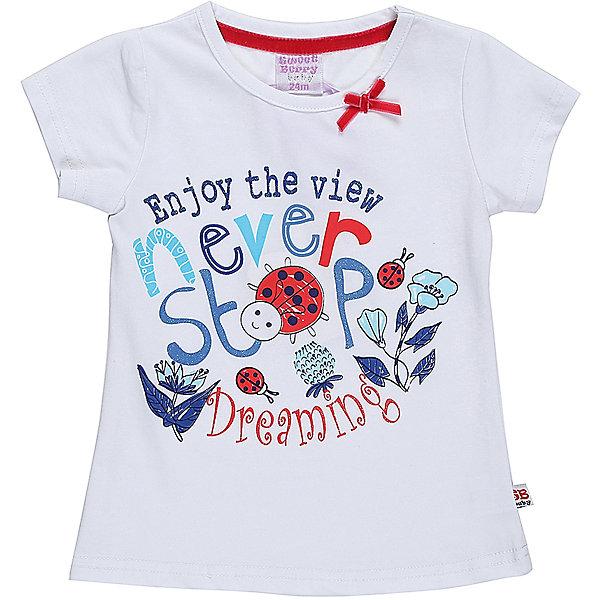 Футболка для девочки Sweet BerryФутболки, поло и топы<br>Хлопковая футболка для девочки с оригинальной надписью и принтом. Горловина декорирована милым бантиком.<br>Состав:<br>95%хлопок 5%эластан<br><br>Ширина мм: 199<br>Глубина мм: 10<br>Высота мм: 161<br>Вес г: 151<br>Цвет: белый<br>Возраст от месяцев: 12<br>Возраст до месяцев: 15<br>Пол: Женский<br>Возраст: Детский<br>Размер: 80,86,98,92<br>SKU: 5410964
