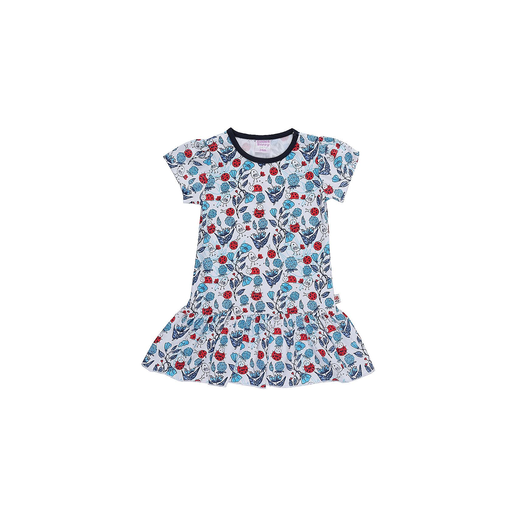 Платье для девочки Sweet BerryПлатья<br>Трикотажное платье для девочки из принтованной ткани  с коротким рукавом.<br>Состав:<br>95%хлопок 5%эластан<br><br>Ширина мм: 236<br>Глубина мм: 16<br>Высота мм: 184<br>Вес г: 177<br>Цвет: разноцветный<br>Возраст от месяцев: 12<br>Возраст до месяцев: 15<br>Пол: Женский<br>Возраст: Детский<br>Размер: 80,98,92,86<br>SKU: 5410983