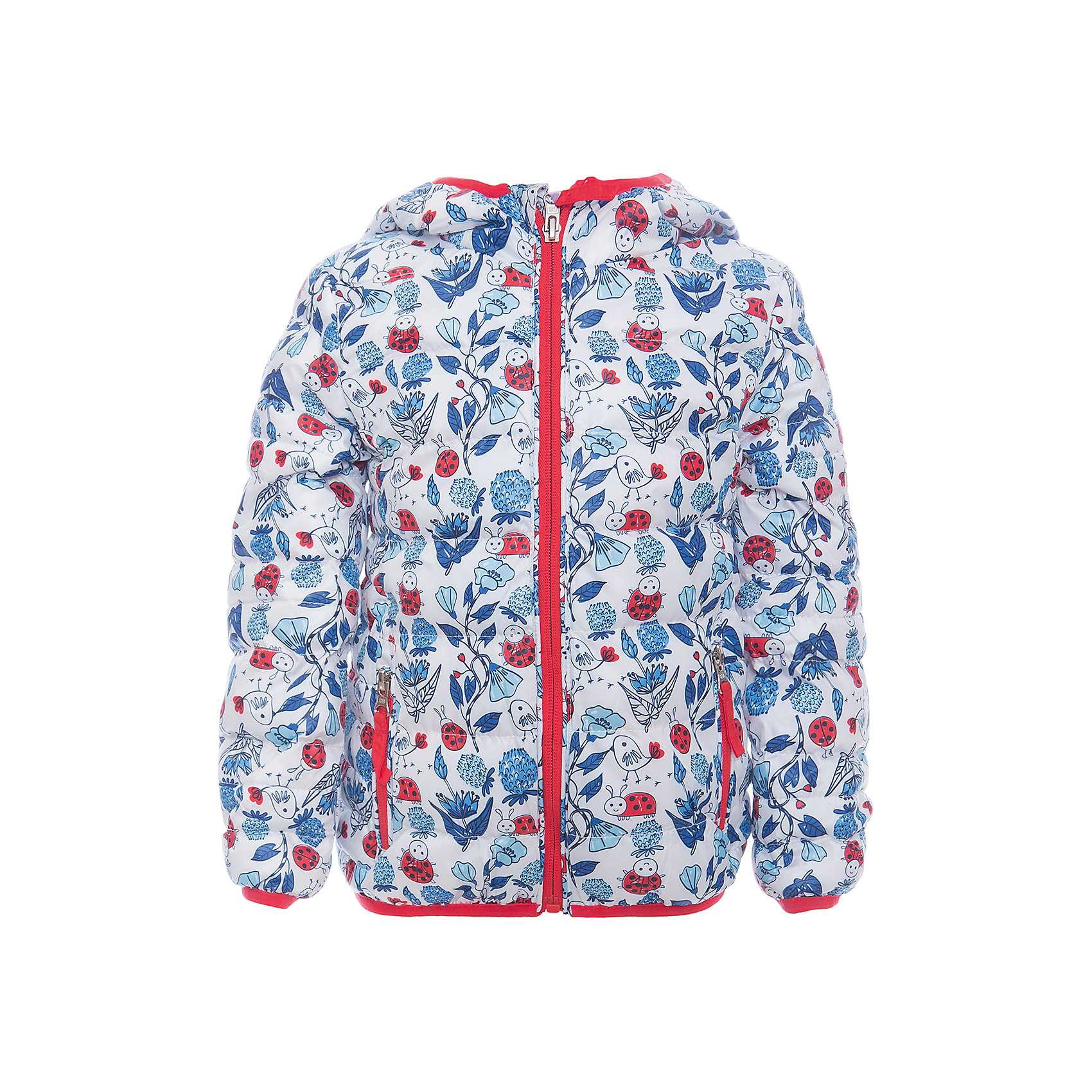 Куртка для девочки Sweet BerryУтепленная, стеганая куртка с оригинальным принтом для девочки. Цельнокроеный капюшон, два прорезных карманы на молнии. Капюшон и  рукава оформлены контрастной окантовочной резинкой.<br>Состав:<br>Верх: 100%полиэстер. Подкладка: 65%хлопок 35%полиэстер. Наполнитель: 100%полиэстер<br><br>Ширина мм: 356<br>Глубина мм: 10<br>Высота мм: 245<br>Вес г: 519<br>Цвет: белый<br>Возраст от месяцев: 12<br>Возраст до месяцев: 15<br>Пол: Женский<br>Возраст: Детский<br>Размер: 80,86,92,98<br>SKU: 5411003