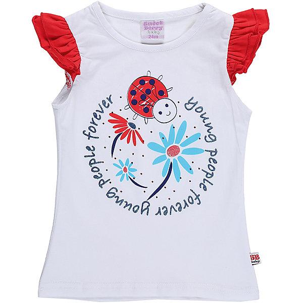 Футболка для девочки Sweet BerryФутболки, поло и топы<br>Хлопковая футболка белого цвета для девочки. Рукава воланы контрастного цвета. Декорирована ярким принтом. Приталенный крой.<br>Состав:<br>95%хлопок 5%эластан<br>Ширина мм: 199; Глубина мм: 10; Высота мм: 161; Вес г: 151; Цвет: белый; Возраст от месяцев: 12; Возраст до месяцев: 15; Пол: Женский; Возраст: Детский; Размер: 80,86,92,98; SKU: 5411033;