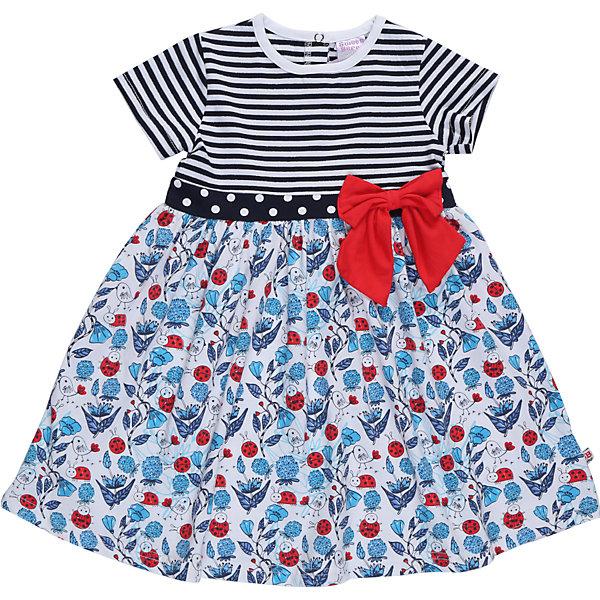 Платье для девочки Sweet BerryПлатья<br>Трикотажное платье для девочки из комбинированного материала. Платье декорировано ярким бантом на талии. Сзади застежка на кнопках<br>Состав:<br>95%хлопок 5%эластан<br>Ширина мм: 236; Глубина мм: 16; Высота мм: 184; Вес г: 177; Цвет: белый; Возраст от месяцев: 12; Возраст до месяцев: 15; Пол: Женский; Возраст: Детский; Размер: 80,86,98,92; SKU: 5411043;