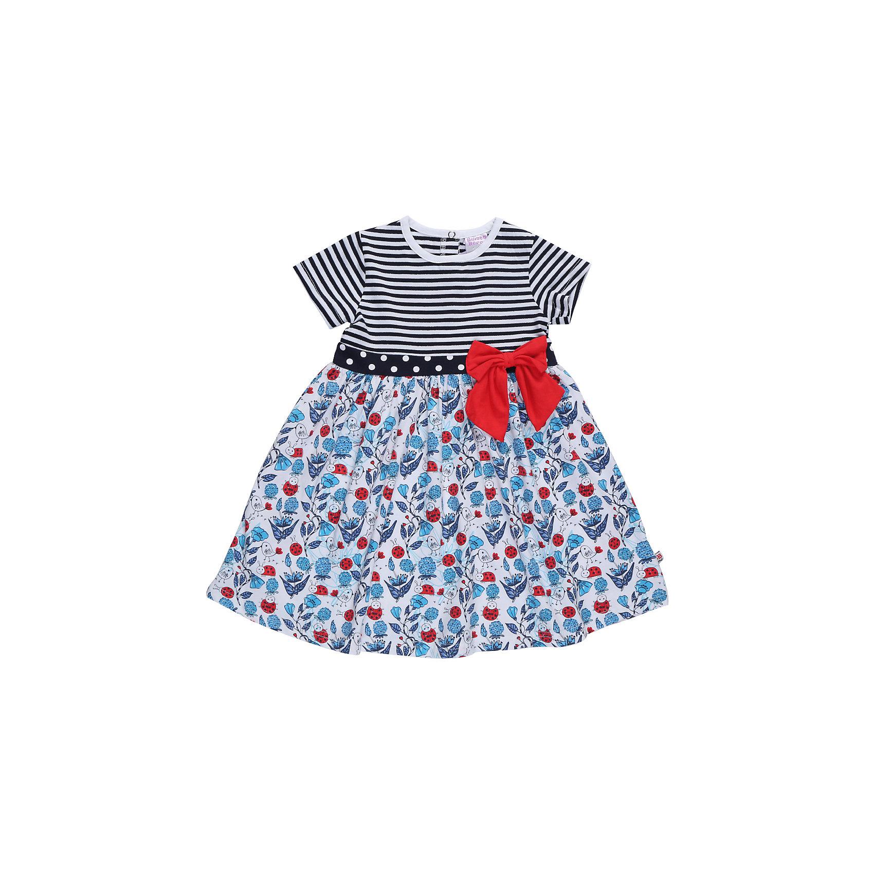 Платье для девочки Sweet BerryПлатья<br>Трикотажное платье для девочки из комбинированного материала. Платье декорировано ярким бантом на талии. Сзади застежка на кнопках<br>Состав:<br>95%хлопок 5%эластан<br><br>Ширина мм: 236<br>Глубина мм: 16<br>Высота мм: 184<br>Вес г: 177<br>Цвет: белый<br>Возраст от месяцев: 12<br>Возраст до месяцев: 15<br>Пол: Женский<br>Возраст: Детский<br>Размер: 80,86,92,98<br>SKU: 5411043