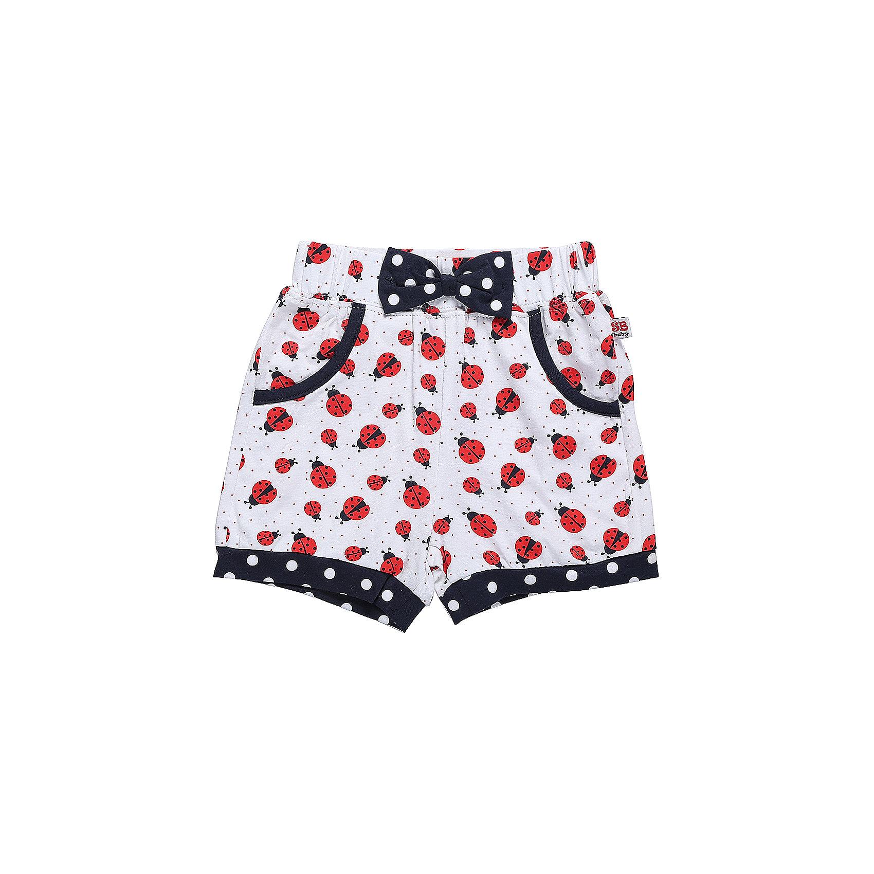 Шорты для девочки Sweet BerryШорты и бриджи<br>Трикотажные короткие шорты для девочки с оригинальным принтом.  Низ шорт декорирован контрастной тканью. Спереди два больших накладных  кармана. Эластичный пояс на резинке.<br>Состав:<br>95%хлопок 5%эластан<br><br>Ширина мм: 191<br>Глубина мм: 10<br>Высота мм: 175<br>Вес г: 273<br>Цвет: белый<br>Возраст от месяцев: 12<br>Возраст до месяцев: 15<br>Пол: Женский<br>Возраст: Детский<br>Размер: 80,86,92,98<br>SKU: 5411048