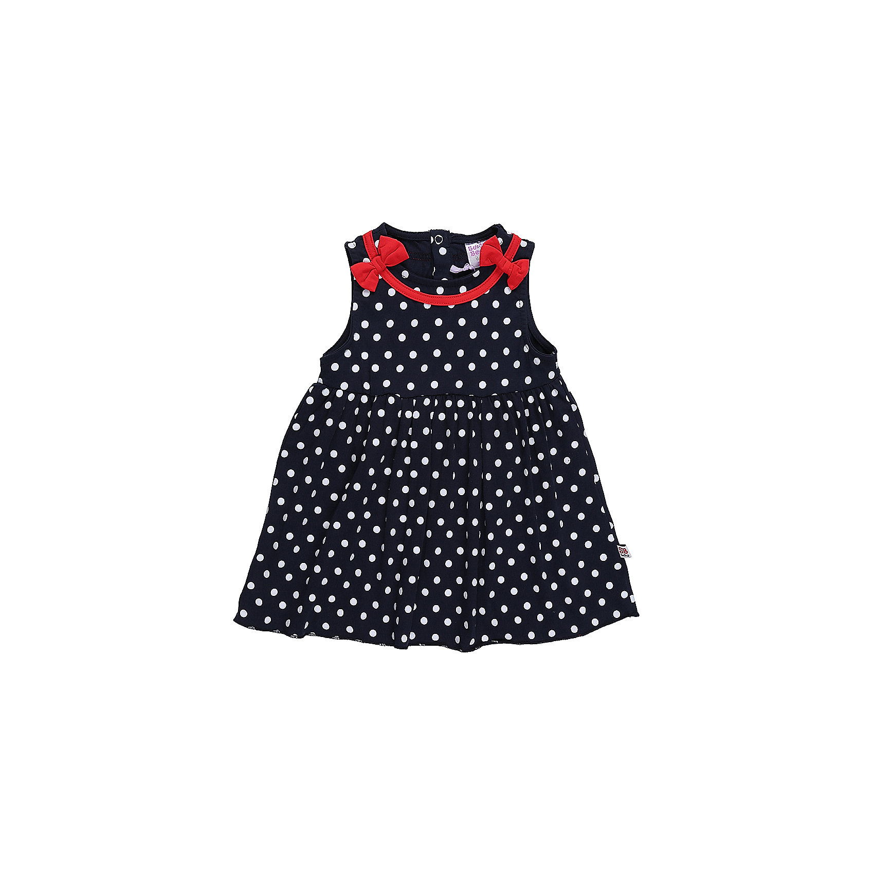 Платье для девочки Sweet BerryПлатья<br>Трикотажное платье для девочки в белый горох. Талия завышена, кокетка декорирована красной бейкой и бантиками.<br>Состав:<br>95%хлопок 5%эластан<br><br>Ширина мм: 236<br>Глубина мм: 16<br>Высота мм: 184<br>Вес г: 177<br>Цвет: синий<br>Возраст от месяцев: 12<br>Возраст до месяцев: 15<br>Пол: Женский<br>Возраст: Детский<br>Размер: 98,80,86,92<br>SKU: 5411058