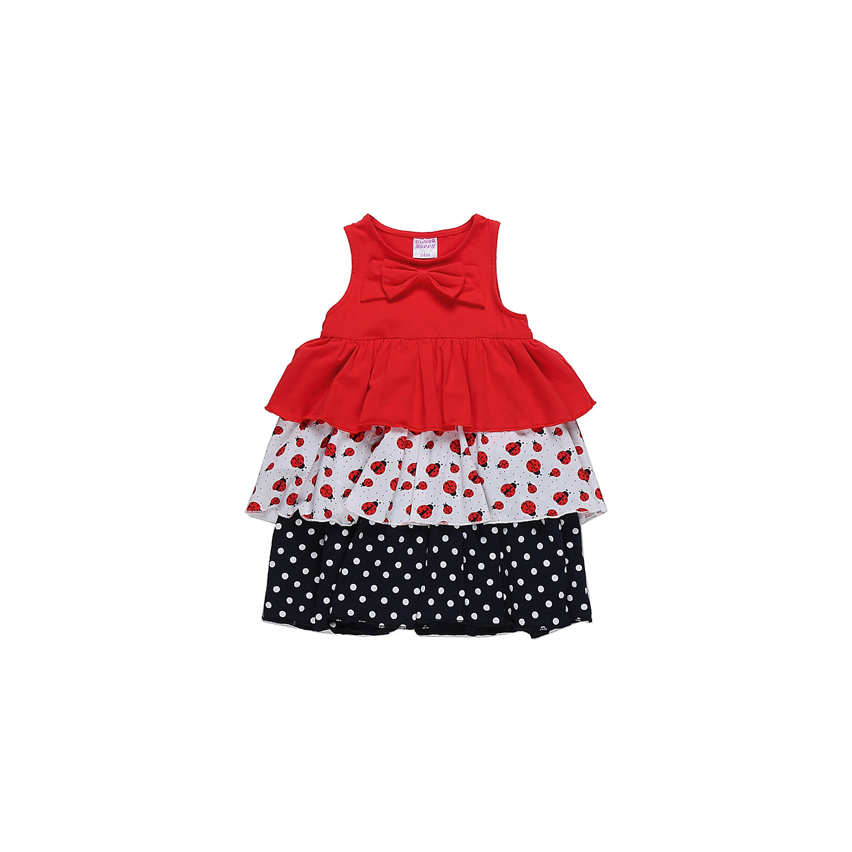 Платье для девочки Sweet BerryПлатья<br>Яркий трикотажный сарафан для девочки из трех видов ткани. Кокетка декорирована красным бантом.<br>Состав:<br>95%хлопок 5%эластан<br><br>Ширина мм: 236<br>Глубина мм: 16<br>Высота мм: 184<br>Вес г: 177<br>Цвет: белый<br>Возраст от месяцев: 12<br>Возраст до месяцев: 18<br>Пол: Женский<br>Возраст: Детский<br>Размер: 86,92,98,80<br>SKU: 5411068