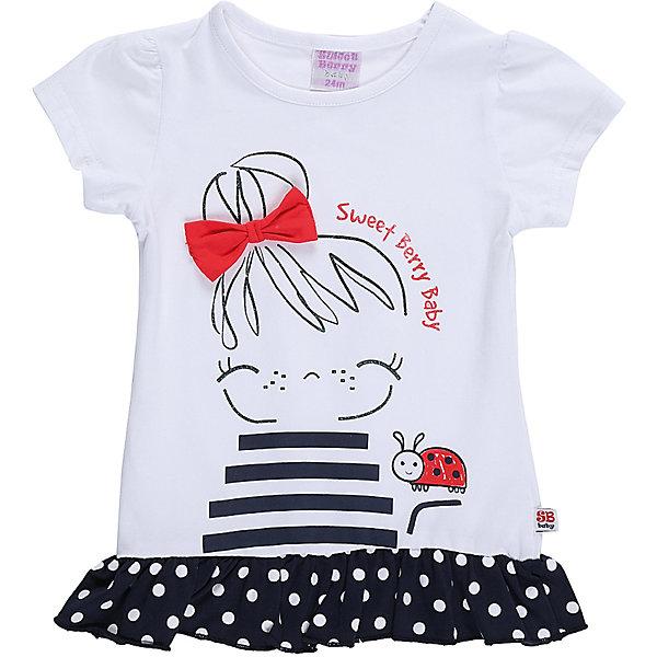 Футболка для девочки Sweet BerryФутболки, поло и топы<br>Удлиненная футболка из хлопковой ткани для девочки декорированная контрастным воланом и оригинальным принтом.<br>Состав:<br>95%хлопок 5%эластан<br><br>Ширина мм: 199<br>Глубина мм: 10<br>Высота мм: 161<br>Вес г: 151<br>Цвет: белый<br>Возраст от месяцев: 12<br>Возраст до месяцев: 15<br>Пол: Женский<br>Возраст: Детский<br>Размер: 80,86,92,98<br>SKU: 5411102