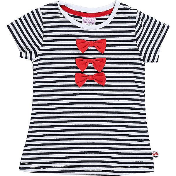 Футболка для девочки Sweet BerryФутболки, топы<br>Трикотажная футболка для девочки в полоску декорированная бантиками.<br>Состав:<br>95%хлопок 5%эластан<br><br>Ширина мм: 199<br>Глубина мм: 10<br>Высота мм: 161<br>Вес г: 151<br>Цвет: белый<br>Возраст от месяцев: 12<br>Возраст до месяцев: 18<br>Пол: Женский<br>Возраст: Детский<br>Размер: 86,80,98,92<br>SKU: 5411111