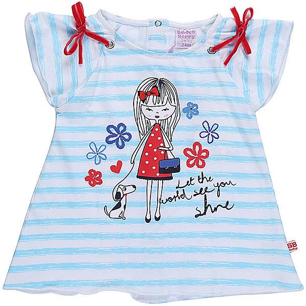 Футболка для девочки Sweet BerryФутболки, поло и топы<br>Трикотажная футболка для девочки А-силуэта в полоску с оригинальным принтом. Рукава крылышки, Декорированые бантиками. Застежка на кнопках.<br>Состав:<br>95%хлопок 5%эластан<br><br>Ширина мм: 199<br>Глубина мм: 10<br>Высота мм: 161<br>Вес г: 151<br>Цвет: белый<br>Возраст от месяцев: 12<br>Возраст до месяцев: 18<br>Пол: Женский<br>Возраст: Детский<br>Размер: 86,80,98,92<br>SKU: 5411125