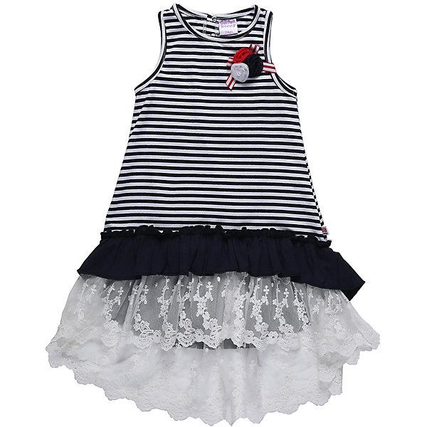 Платье для девочки Sweet BerryПлатья<br>Летный сарафан из трикотажной ткани в полоску для девочки. Декорирован воланами из контрастной ткани и кружевом. Лиф украшен брошью из цветов. Сзади сарафан застегивается на кнопки.<br>Состав:<br>95%хлопок 5%эластан<br>Ширина мм: 236; Глубина мм: 16; Высота мм: 184; Вес г: 177; Цвет: белый; Возраст от месяцев: 12; Возраст до месяцев: 15; Пол: Женский; Возраст: Детский; Размер: 80,86,92,98; SKU: 5411130;