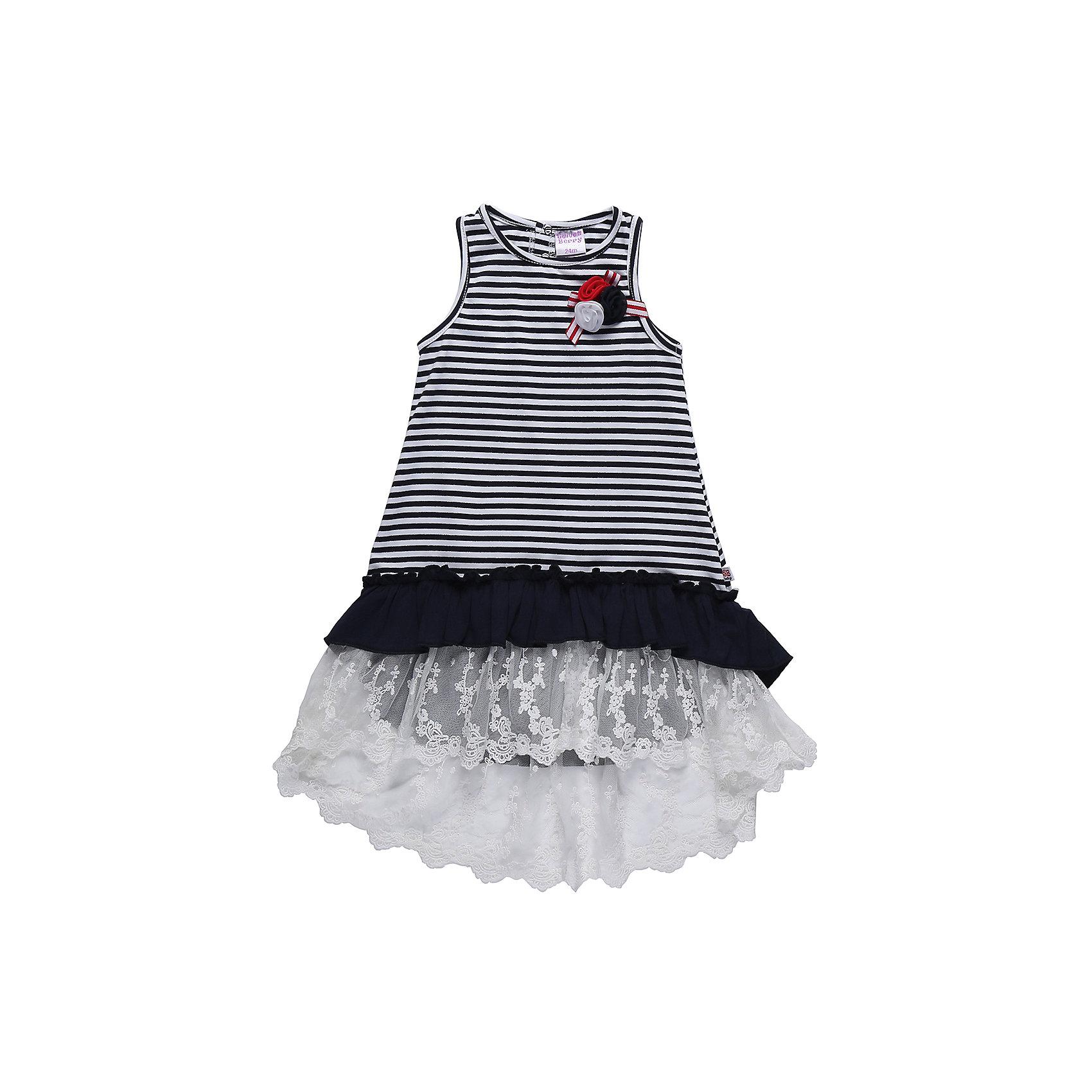 Платье для девочки Sweet BerryПлатья<br>Летный сарафан из трикотажной ткани в полоску для девочки. Декорирован воланами из контрастной ткани и кружевом. Лиф украшен брошью из цветов. Сзади сарафан застегивается на кнопки.<br>Состав:<br>95%хлопок 5%эластан<br><br>Ширина мм: 236<br>Глубина мм: 16<br>Высота мм: 184<br>Вес г: 177<br>Цвет: разноцветный<br>Возраст от месяцев: 12<br>Возраст до месяцев: 15<br>Пол: Женский<br>Возраст: Детский<br>Размер: 80,86,92,98<br>SKU: 5411130