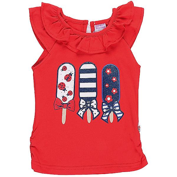 Футболка для девочки Sweet BerryФутболки, топы<br>Яркая красная футболка с рукавами-воланами. Горловина декорирована воланами. На полочке оригинальная аппликация.<br>Состав:<br>95%хлопок 5%эластан<br>Ширина мм: 199; Глубина мм: 10; Высота мм: 161; Вес г: 151; Цвет: красный; Возраст от месяцев: 12; Возраст до месяцев: 18; Пол: Женский; Возраст: Детский; Размер: 86,80,98,92; SKU: 5411153;