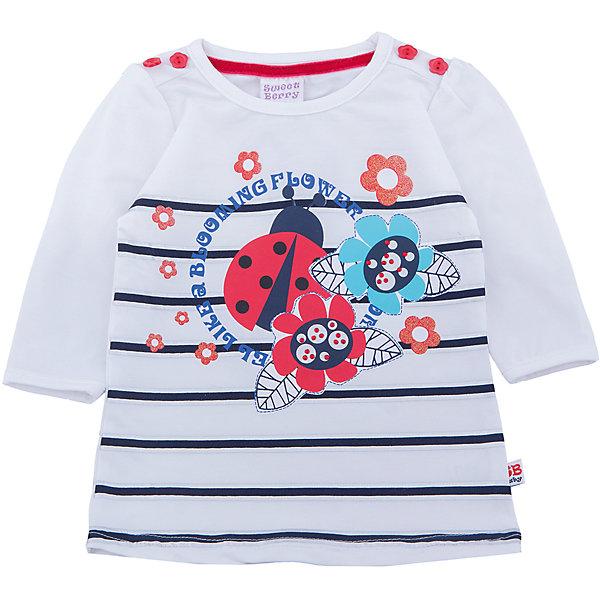 Футболка с длинным рукавом для девочки Sweet BerryФутболки, топы<br>Хлопковая футболка для девочки. Рукав 3/4, декорирована милыми пуговками на плечах и оригинальным принтом.<br>Состав:<br>95%хлопок 5%эластан<br>Ширина мм: 199; Глубина мм: 10; Высота мм: 161; Вес г: 151; Цвет: белый; Возраст от месяцев: 12; Возраст до месяцев: 15; Пол: Женский; Возраст: Детский; Размер: 80,86,98,92; SKU: 5411163;