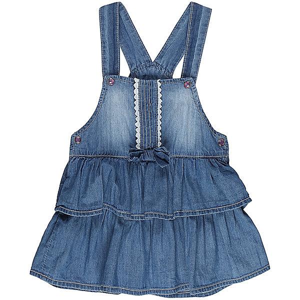Сарафан джинсовый для девочки Sweet BerryДжинсовая одежда<br>Модный сарафан для девочки из тонкой хлопковой ткани под джинсу. Декорирован двумя большими воланами по низу изделия. Застежка - кнопки.<br>Состав:<br>98%хлопок 2%эластан<br>Ширина мм: 236; Глубина мм: 16; Высота мм: 184; Вес г: 177; Цвет: синий; Возраст от месяцев: 12; Возраст до месяцев: 15; Пол: Женский; Возраст: Детский; Размер: 80,86,92,98; SKU: 5411173;