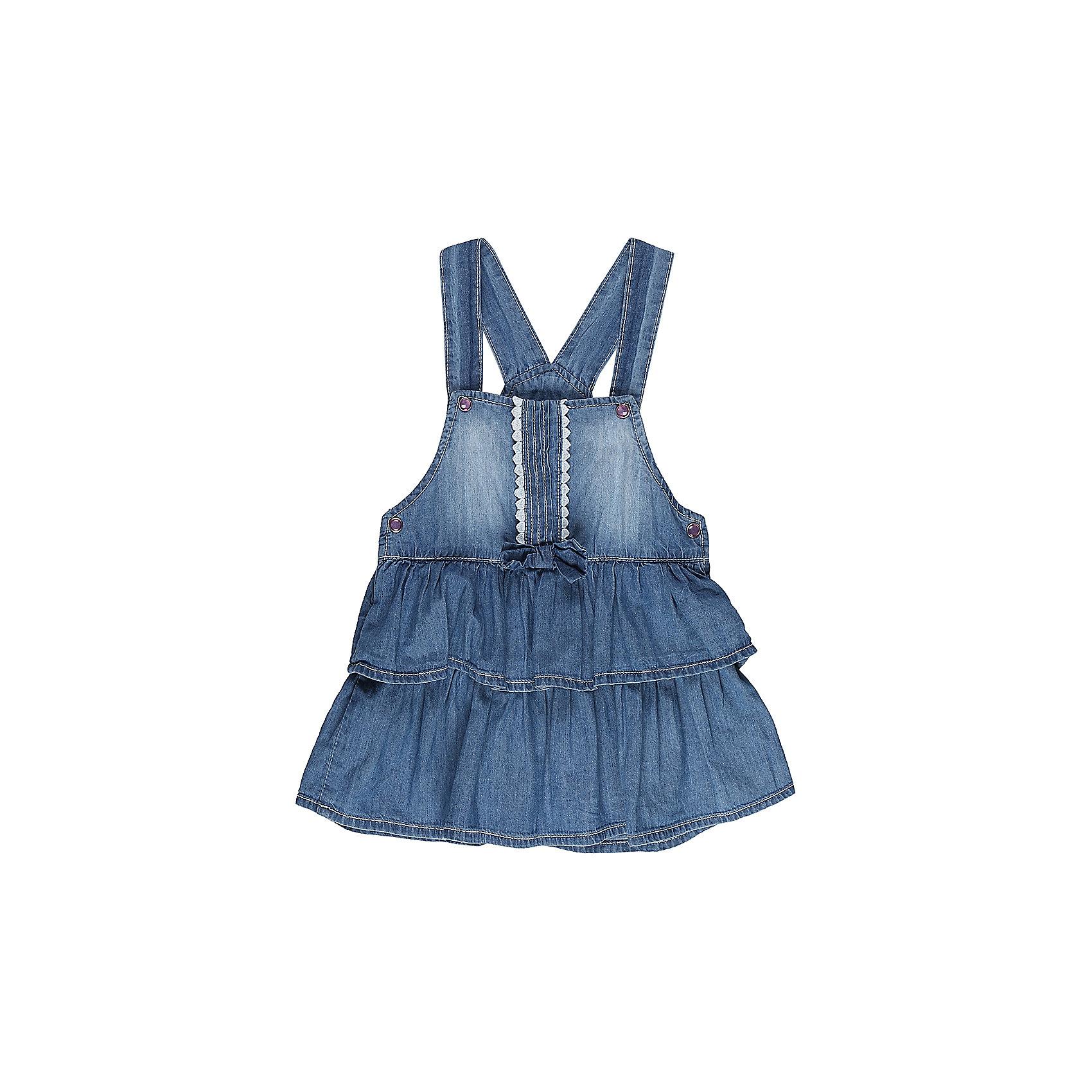 Сарафан джинсовый для девочки Sweet BerryДжинсовая одежда<br>Модный сарафан для девочки из тонкой хлопковой ткани под джинсу. Декорирован двумя большими воланами по низу изделия. Застежка - кнопки.<br>Состав:<br>98%хлопок 2%эластан<br><br>Ширина мм: 236<br>Глубина мм: 16<br>Высота мм: 184<br>Вес г: 177<br>Цвет: синий<br>Возраст от месяцев: 12<br>Возраст до месяцев: 15<br>Пол: Женский<br>Возраст: Детский<br>Размер: 80,86,92,98<br>SKU: 5411173