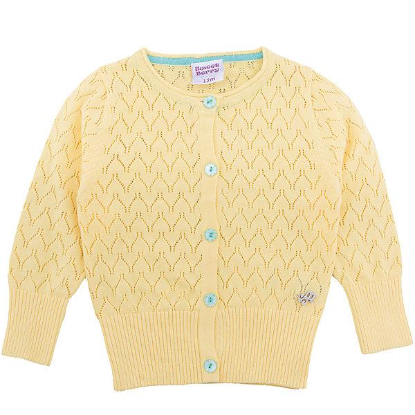 Кардиган для девочки Sweet BerryТолстовки, свитера, кардиганы<br>Вязаный, ажурный жакет для девочки с длинным рукавом. Застегивается на пуговки.<br>Состав:<br>100% хлопок<br><br>Ширина мм: 190<br>Глубина мм: 74<br>Высота мм: 229<br>Вес г: 236<br>Цвет: желтый<br>Возраст от месяцев: 12<br>Возраст до месяцев: 15<br>Пол: Женский<br>Возраст: Детский<br>Размер: 80,86,92,98<br>SKU: 5411178